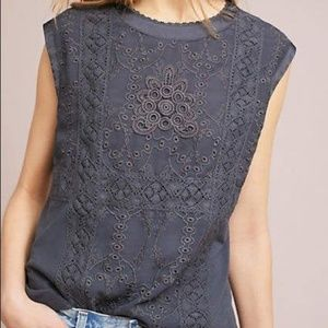 Anthropologie Tiny Embroidered Sleeveless Blouse
